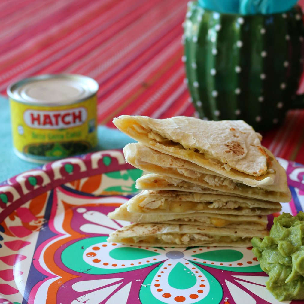 Hatch Green Chile Chicken Quesadillas