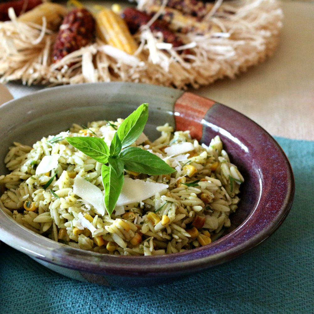 Hatch Green Chile Pesto over Orzo Pasta