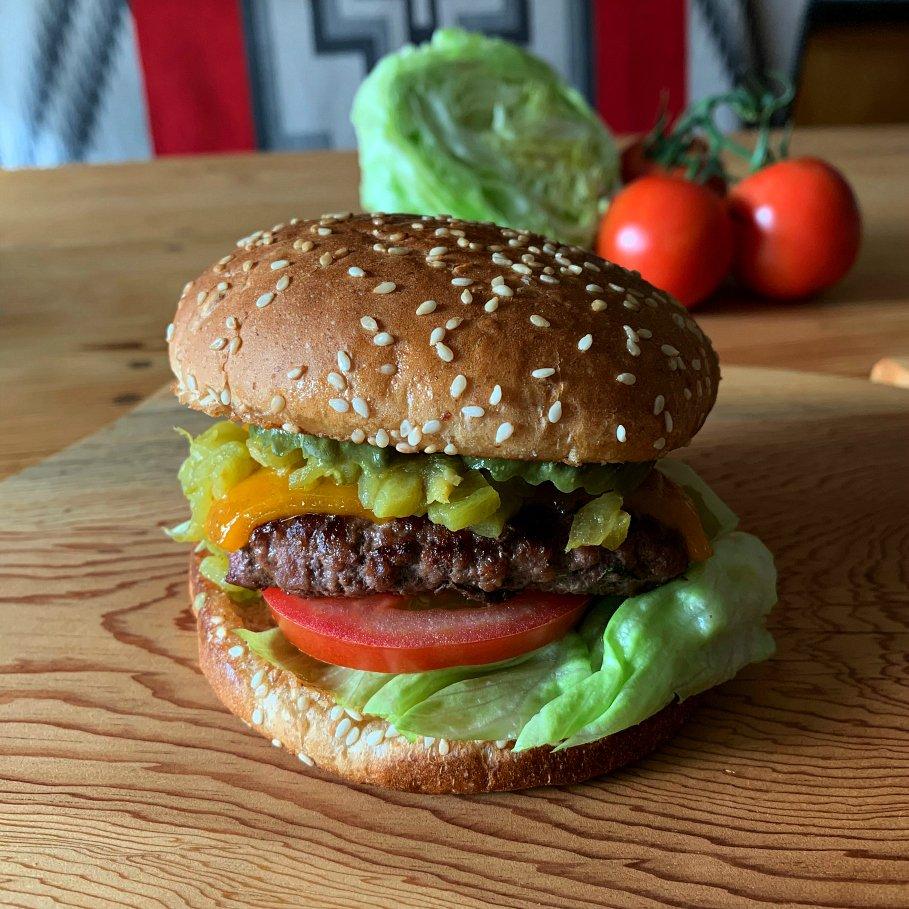 Hatch Green Chile Cheeseburger